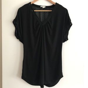 ANTHROPOLOGIE Short Sleeve Black Top